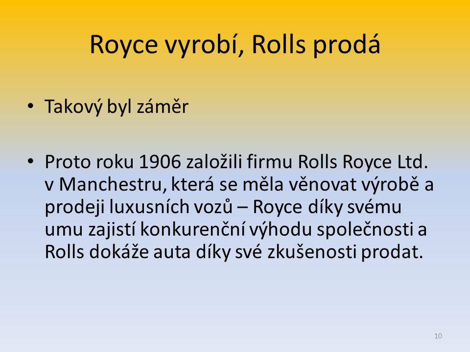 Royce vyrobí, Rolls prodá Takový byl záměr Proto roku 1906 založili firmu Rolls Royce Ltd.