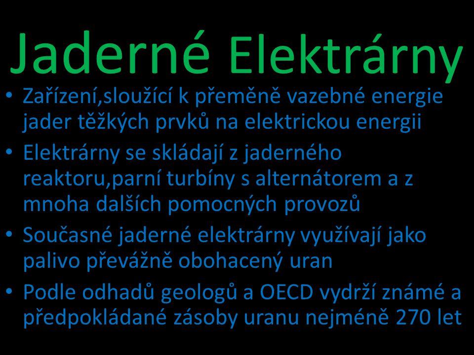 Zařízení,sloužící k přeměně vazebné energie jader těžkých prvků na elektrickou energii Elektrárny se skládají z jaderného reaktoru,parní turbíny s alt