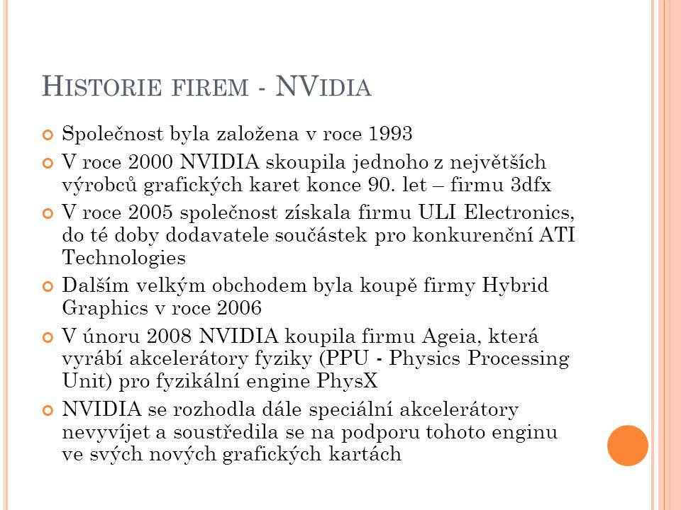 H ISTORIE FIREM - NV IDIA Společnost byla založena v roce 1993 V roce 2000 NVIDIA skoupila jednoho z největších výrobců grafických karet konce 90. let