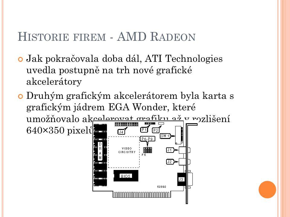 H ISTORIE FIREM - AMD R ADEON Jak pokračovala doba dál, ATI Technologies uvedla postupně na trh nové grafické akcelerátory Druhým grafickým akceleráto