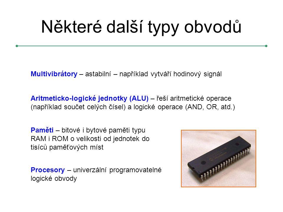 Multivibrátory – astabilní – například vytváří hodinový signál Aritmeticko-logické jednotky (ALU) – řeší aritmetické operace (například součet celých čísel) a logické operace (AND, OR, atd.) Paměti – bitové i bytové paměti typu RAM i ROM o velikosti od jednotek do tisíců paměťových míst Procesory – univerzální programovatelné logické obvody