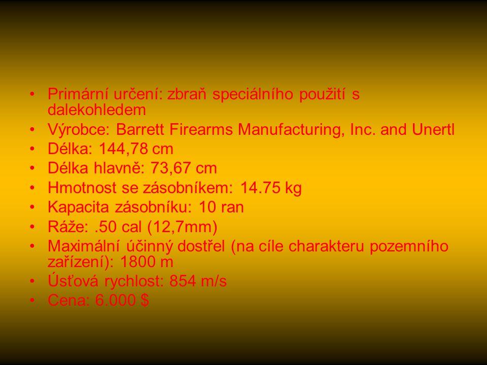 Primární určení: zbraň speciálního použití s dalekohledem Výrobce: Barrett Firearms Manufacturing, Inc.