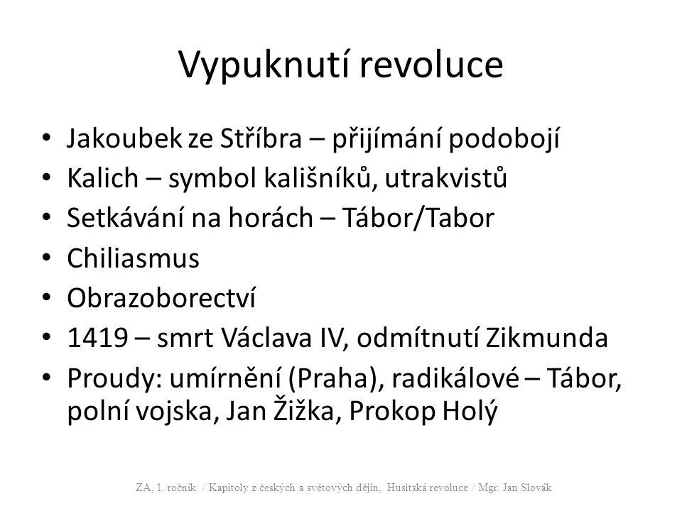 Vypuknutí revoluce Jakoubek ze Stříbra – přijímání podobojí Kalich – symbol kališníků, utrakvistů Setkávání na horách – Tábor/Tabor Chiliasmus Obrazob