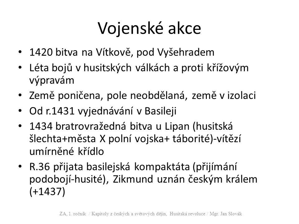 Vojenské akce 1420 bitva na Vítkově, pod Vyšehradem Léta bojů v husitských válkách a proti křížovým výpravám Země poničena, pole neobdělaná, země v iz