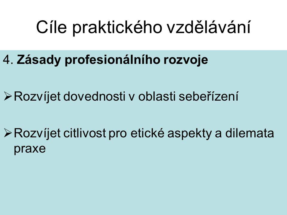 Cíle praktického vzdělávání 4. Zásady profesionálního rozvoje  Rozvíjet dovednosti v oblasti sebeřízení  Rozvíjet citlivost pro etické aspekty a dil