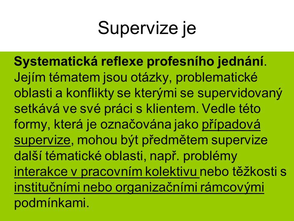 Supervize je Systematická reflexe profesního jednání. Jejím tématem jsou otázky, problematické oblasti a konflikty se kterými se supervidovaný setkává