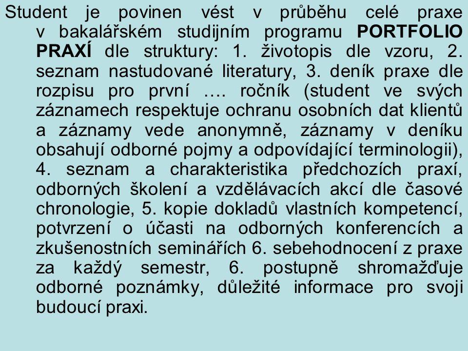 Student je povinen vést v průběhu celé praxe v bakalářském studijním programu PORTFOLIO PRAXÍ dle struktury: 1. životopis dle vzoru, 2. seznam nastudo
