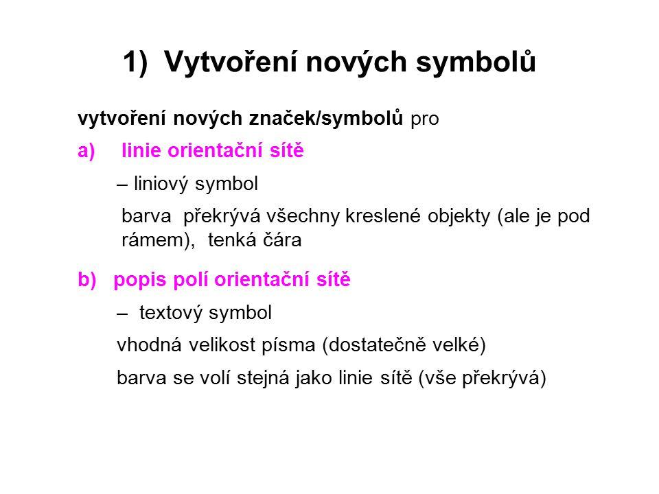 1) Vytvoření nových symbolů vytvoření nových značek/symbolů pro a)linie orientační sítě – liniový symbol barva překrývá všechny kreslené objekty (ale je pod rámem), tenká čára b) popis polí orientační sítě – textový symbol vhodná velikost písma (dostatečně velké) barva se volí stejná jako linie sítě (vše překrývá)