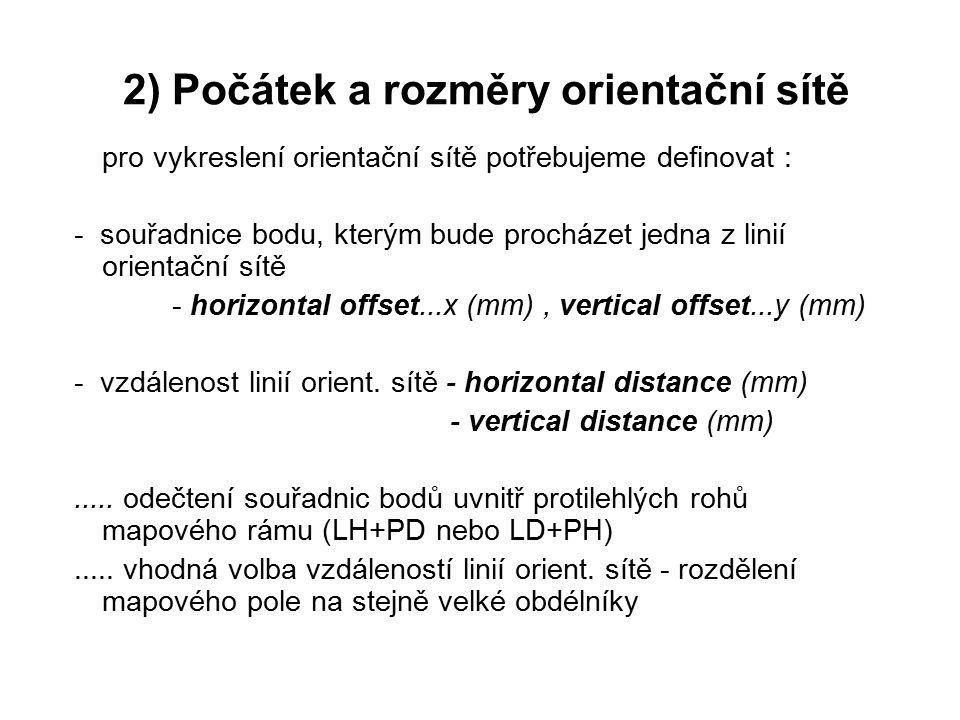 pro vykreslení orientační sítě potřebujeme definovat : - souřadnice bodu, kterým bude procházet jedna z linií orientační sítě - horizontal offset...x (mm), vertical offset...y (mm) - vzdálenost linií orient.
