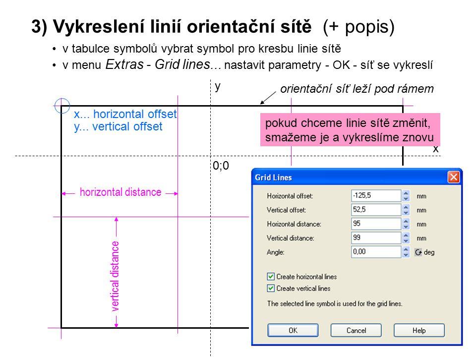 x y 0;0 x... horizontal offset y... vertical offset horizontal distance vertical distance 3) Vykreslení linií orientační sítě (+ popis) v tabulce symb