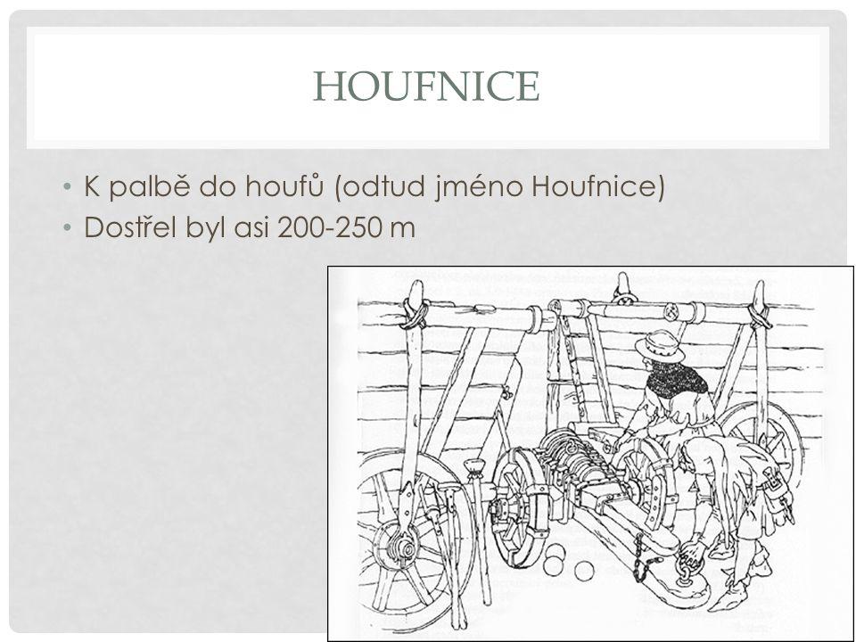 HOUFNICE K palbě do houfů (odtud jméno Houfnice) Dostřel byl asi 200-250 m