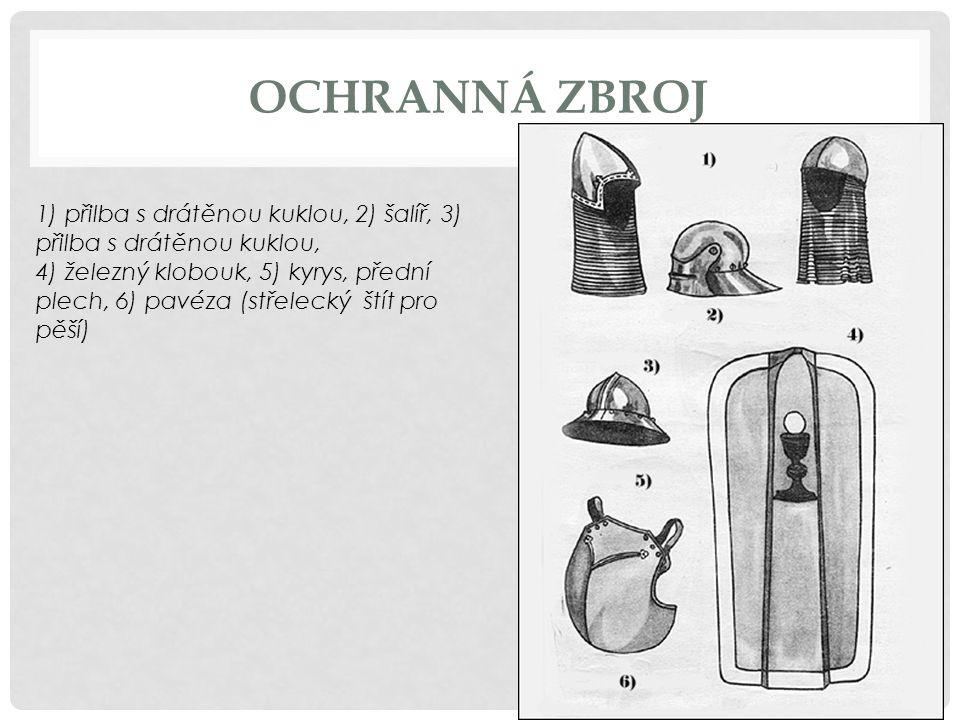 OCHRANNÁ ZBROJ 1) přilba s drátěnou kuklou, 2) šalíř, 3) přilba s drátěnou kuklou, 4) železný klobouk, 5) kyrys, přední plech, 6) pavéza (střelecký št