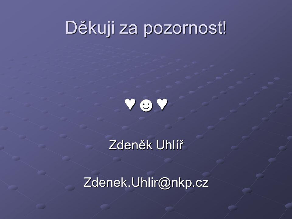 Děkuji za pozornost! ♥☻♥ Zdeněk Uhlíř Zdenek.Uhlir@nkp.cz