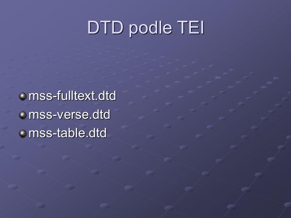 DTD podle TEI mss-fulltext.dtdmss-verse.dtdmss-table.dtd
