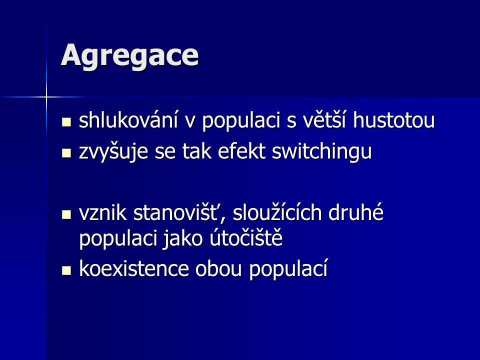 Agregace shlukování v populaci s větší hustotou shlukování v populaci s větší hustotou zvyšuje se tak efekt switchingu zvyšuje se tak efekt switchingu
