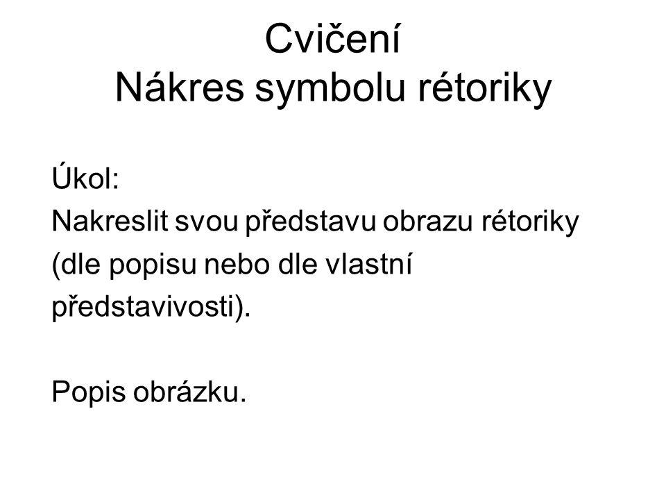 Cvičení Nákres symbolu rétoriky Úkol: Nakreslit svou představu obrazu rétoriky (dle popisu nebo dle vlastní představivosti). Popis obrázku.