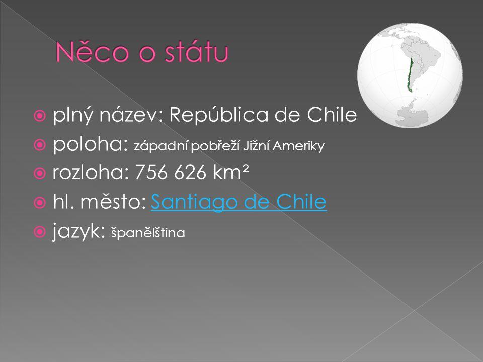  plný název: República de Chile  poloha: západní pobřeží Jižní Ameriky  rozloha: 756 626 km²  hl. město: Santiago de ChileSantiago de Chile  jazy