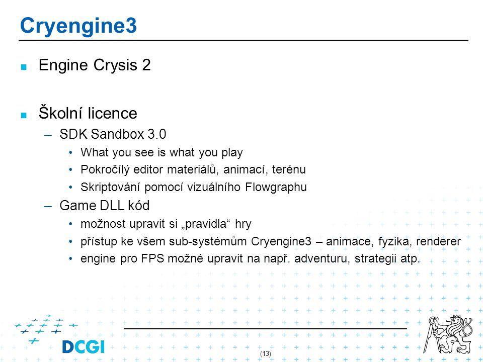 (13) Cryengine3 Engine Crysis 2 Školní licence – –SDK Sandbox 3.0 What you see is what you play Pokročílý editor materiálů, animací, terénu Skriptován