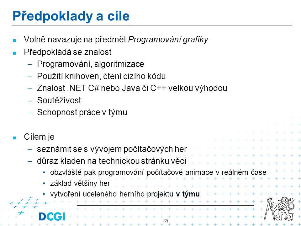 (2) Předpoklady a cíle Volně navazuje na předmět Programování grafiky Předpokládá se znalost – –Programování, algoritmizace – –Použití knihoven, čtení