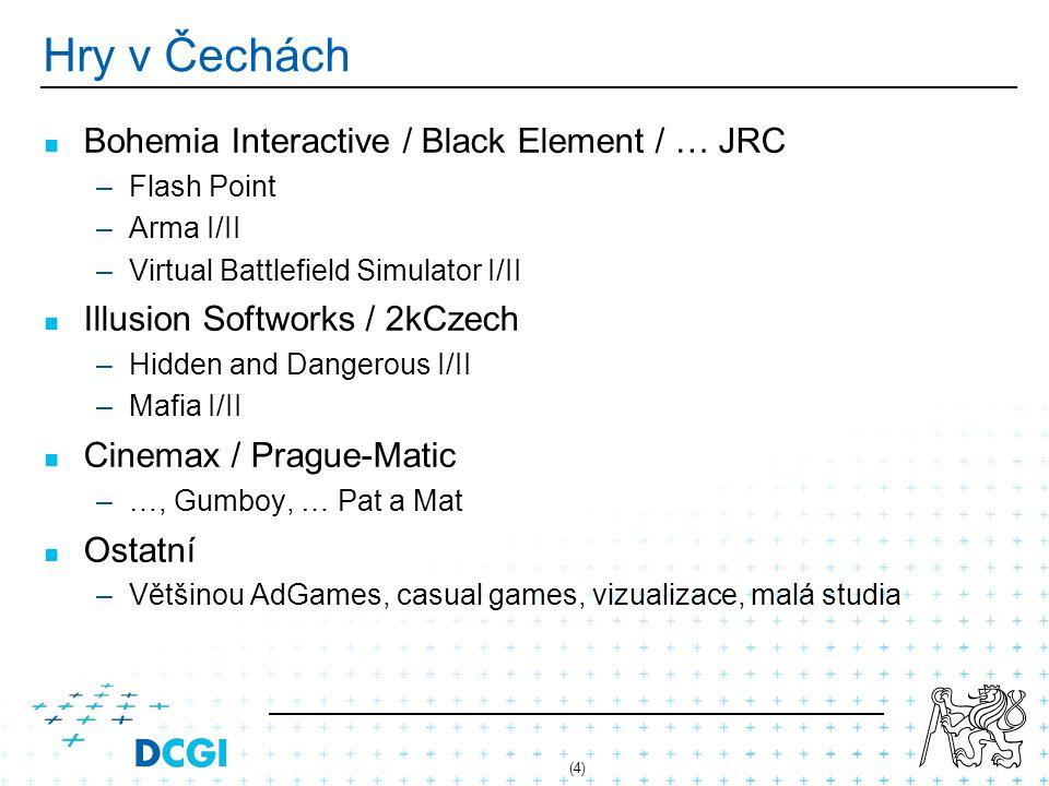(15) Inspirace pro koncepty Strategická hra v reálném čase – –2D či 3D – –síťová komunikace – –ovládání jednotek a jejich skupin Dobrodružná hra (adventure) – –vytvořit jednoduchý scénář – –použít/vytvořit skriptovací jazyk – –systém najdi - seber – použij