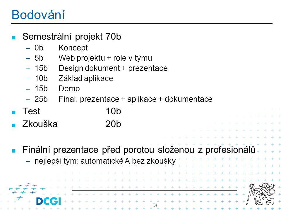 (6) Bodování Semestrální projekt70b – –0bKoncept – –5bWeb projektu + role v týmu – –15bDesign dokument + prezentace – –10bZáklad aplikace – –15bDemo –