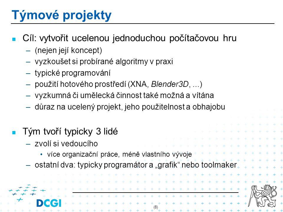 (8) Týmové projekty Cíl: vytvořit ucelenou jednoduchou počítačovou hru – –(nejen její koncept) – –vyzkoušet si probírané algoritmy v praxi – –typické