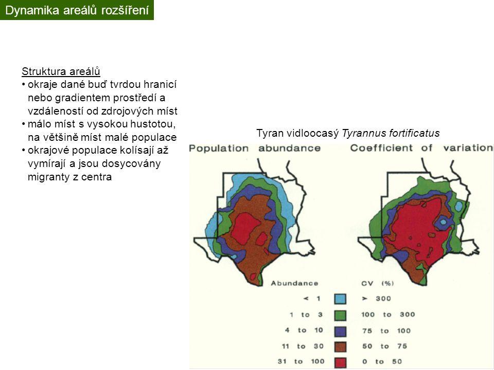 Dynamika areálů rozšíření Struktura areálů okraje dané buď tvrdou hranicí nebo gradientem prostředí a vzdáleností od zdrojových míst málo míst s vysok