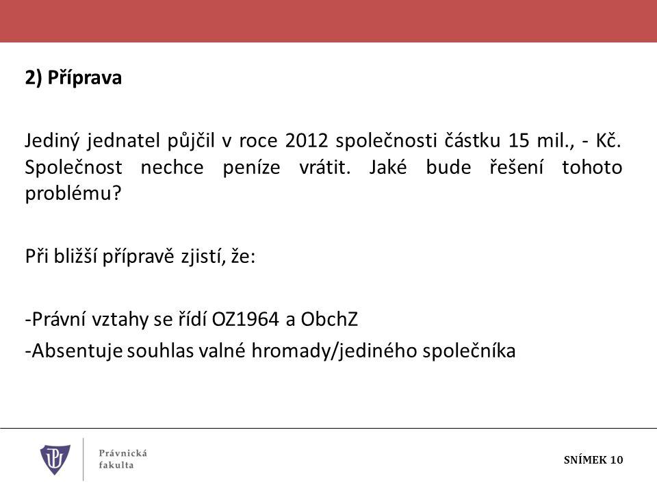 2) Příprava Jediný jednatel půjčil v roce 2012 společnosti částku 15 mil., - Kč.