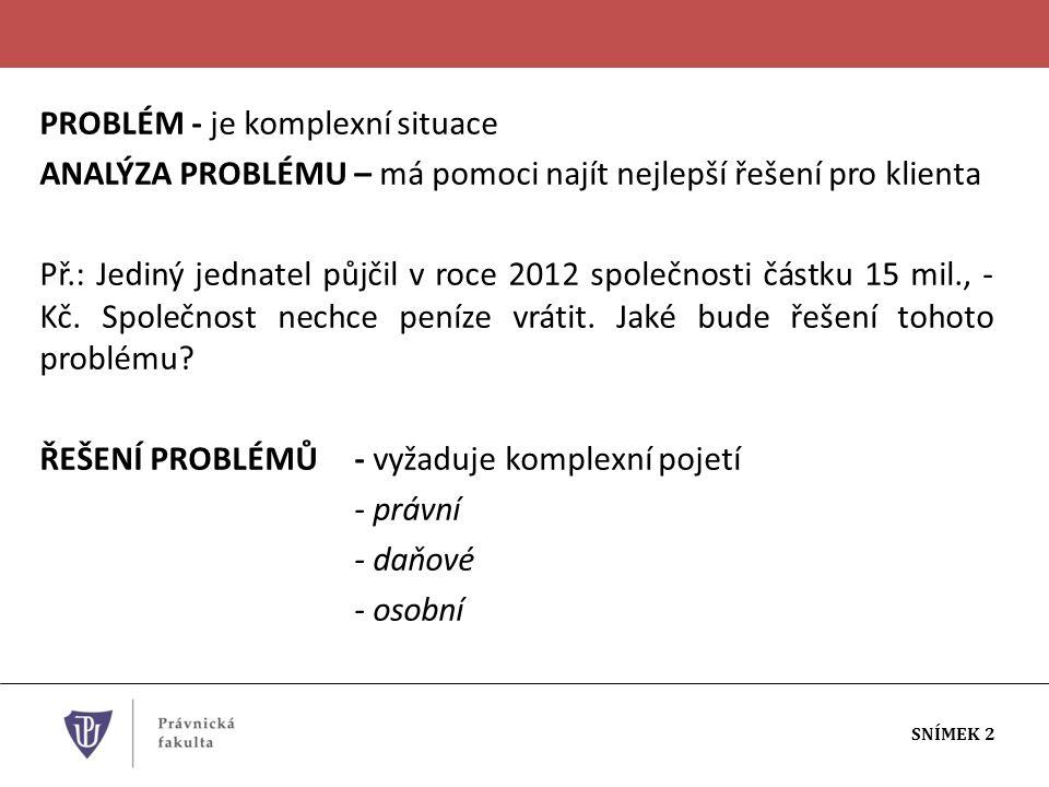 PROBLÉM - je komplexní situace ANALÝZA PROBLÉMU – má pomoci najít nejlepší řešení pro klienta Př.: Jediný jednatel půjčil v roce 2012 společnosti částku 15 mil., - Kč.