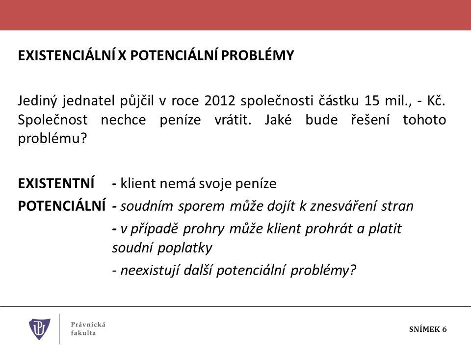 EXISTENCIÁLNÍ X POTENCIÁLNÍ PROBLÉMY Jediný jednatel půjčil v roce 2012 společnosti částku 15 mil., - Kč.