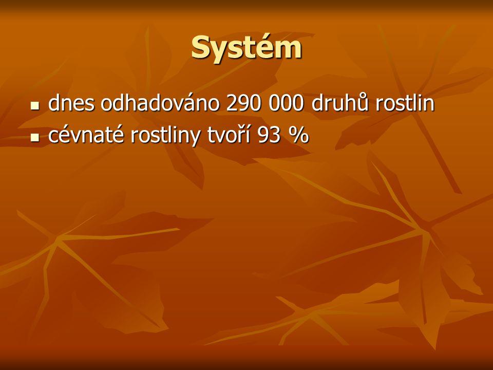 Systém dnes odhadováno 290 000 druhů rostlin dnes odhadováno 290 000 druhů rostlin cévnaté rostliny tvoří 93 % cévnaté rostliny tvoří 93 %