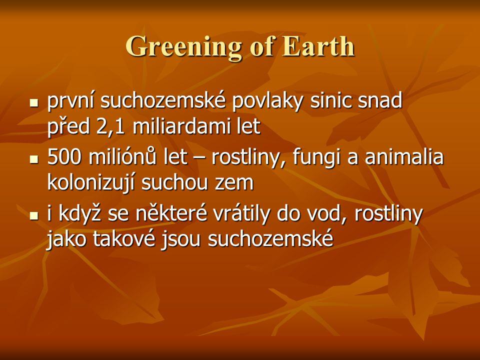 Greening of Earth první suchozemské povlaky sinic snad před 2,1 miliardami let první suchozemské povlaky sinic snad před 2,1 miliardami let 500 miliónů let – rostliny, fungi a animalia kolonizují suchou zem 500 miliónů let – rostliny, fungi a animalia kolonizují suchou zem i když se některé vrátily do vod, rostliny jako takové jsou suchozemské i když se některé vrátily do vod, rostliny jako takové jsou suchozemské