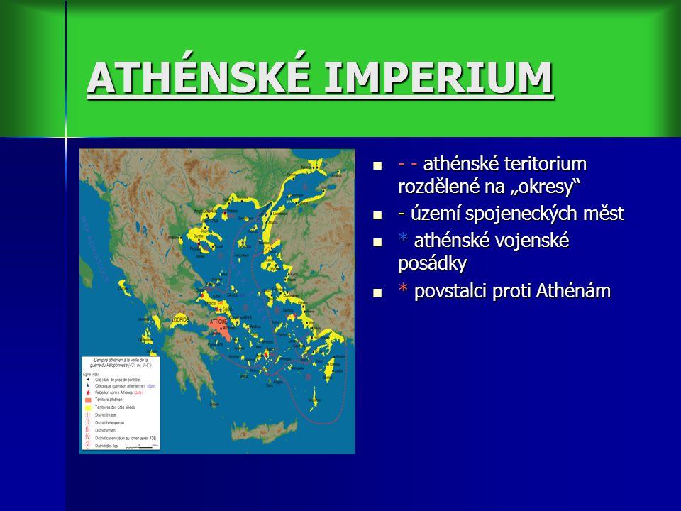 """ATHÉNSKÉ IMPERIUM - - athénské teritorium rozdělené na """"okresy - - athénské teritorium rozdělené na """"okresy - území spojeneckých měst - území spojeneckých měst * athénské vojenské posádky * athénské vojenské posádky * povstalci proti Athénám * povstalci proti Athénám"""
