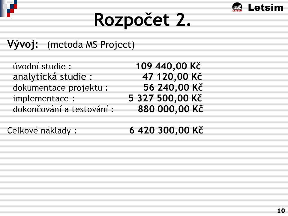 Letsim 10 Rozpočet 2. Vývoj: (metoda MS Project) úvodní studie : 109 440,00 Kč analytická studie : 47 120,00 Kč dokumentace projektu : 56 240,00 Kč im