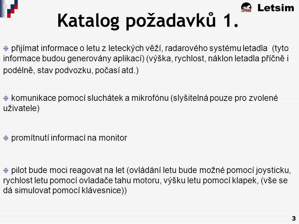 Letsim 3 Katalog požadavků 1. přijímat informace o letu z leteckých věží, radarového systému letadla (tyto informace budou generovány aplikací) (výška