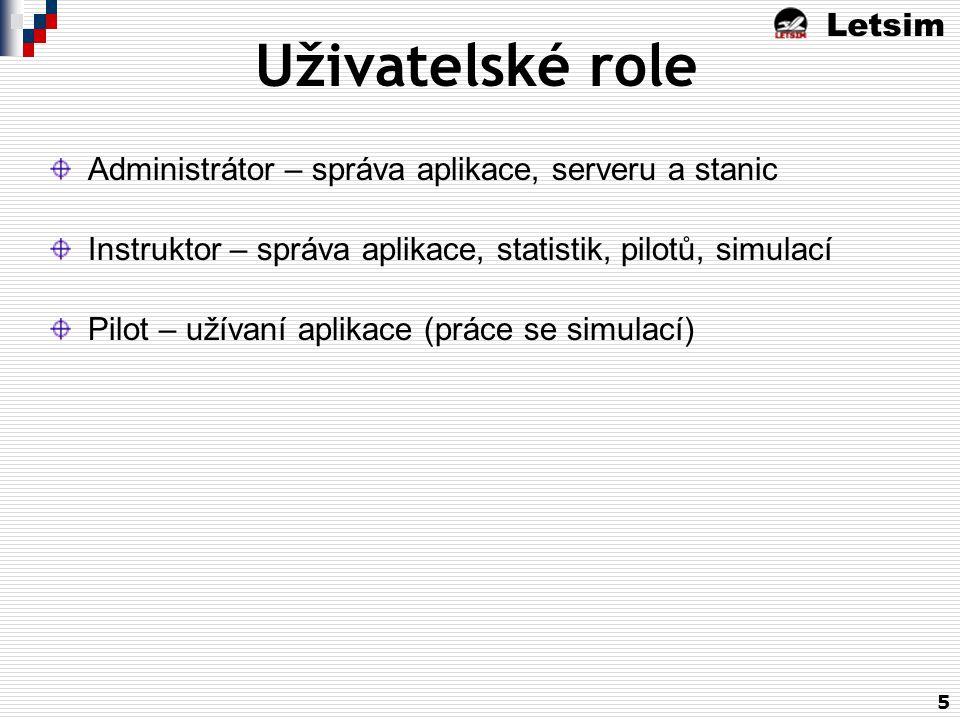 Letsim 5 Uživatelské role Administrátor – správa aplikace, serveru a stanic Instruktor – správa aplikace, statistik, pilotů, simulací Pilot – užívaní