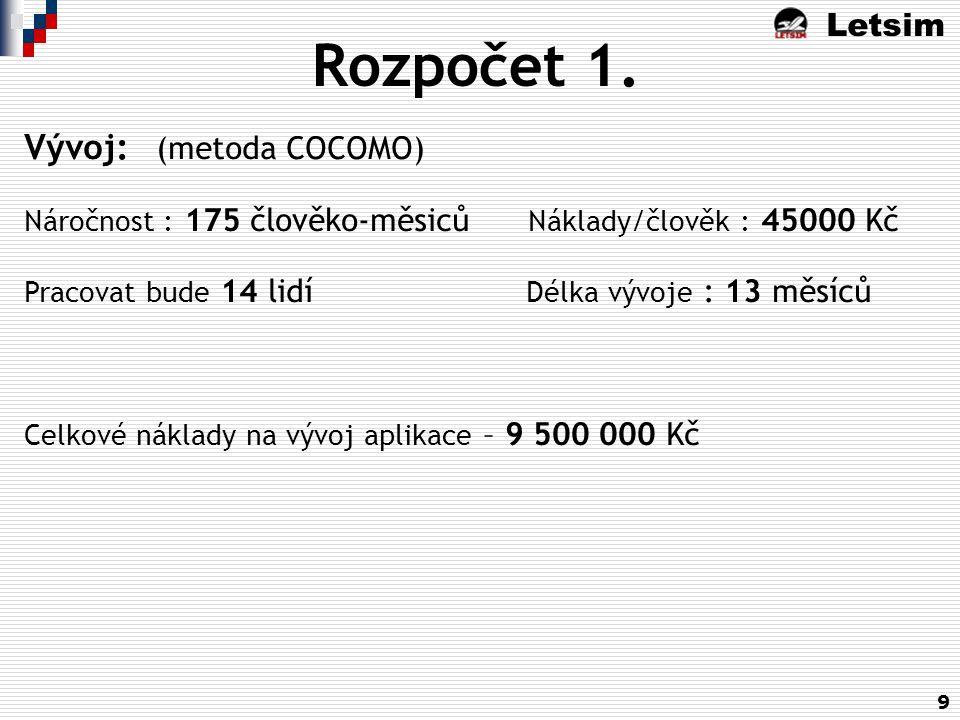 Letsim 9 Rozpočet 1. Vývoj: (metoda COCOMO) Náročnost : 175 člověko-měsiců Náklady/člověk : 45000 Kč Pracovat bude 14 lidí Délka vývoje : 13 měsíců Ce