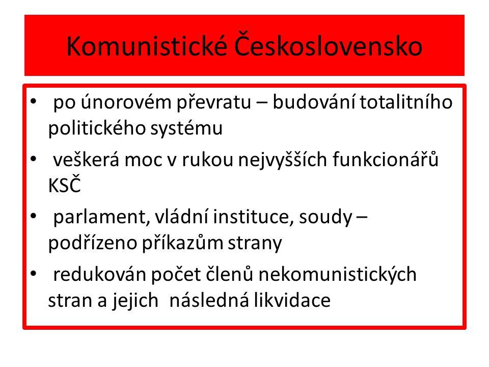 Komunistické Československo po únorovém převratu – budování totalitního politického systému veškerá moc v rukou nejvyšších funkcionářů KSČ parlament, vládní instituce, soudy – podřízeno příkazům strany redukován počet členů nekomunistických stran a jejich následná likvidace