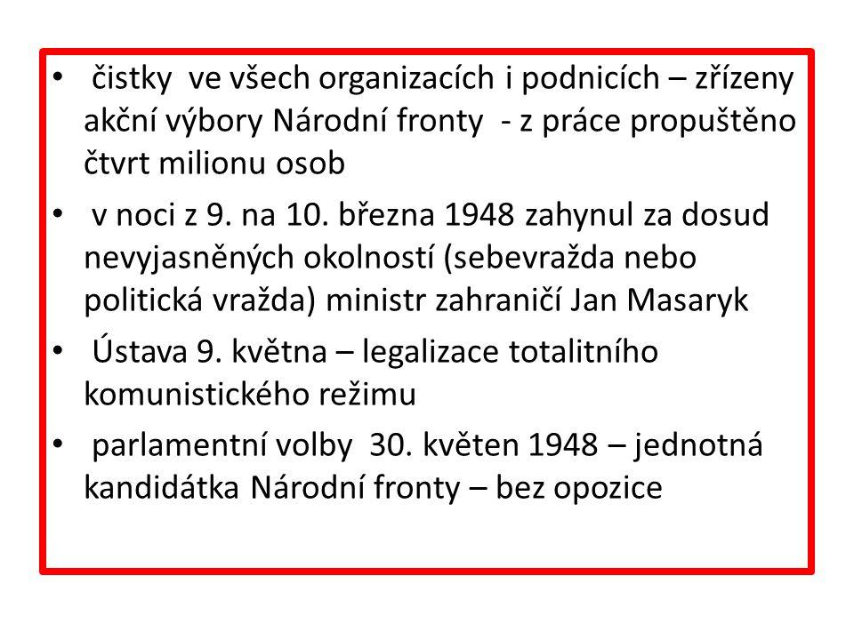 čistky ve všech organizacích i podnicích – zřízeny akční výbory Národní fronty - z práce propuštěno čtvrt milionu osob v noci z 9.