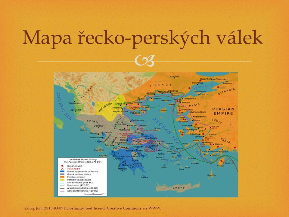  Mapa řecko-perských válek Zdroj: [cit. 2013-03-09]. Dostupný pod licencí Creative Commons na WWW: http://commons.wikimedia.org/wiki/File%3AMap_Greco