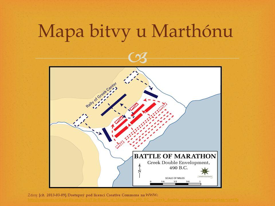  Mapa bitvy u Marthónu Zdroj: [cit. 2013-03-09]. Dostupný pod licencí Creative Commons na WWW: http://commons.wikimedia.org/wiki/File:Battle_of_Marat