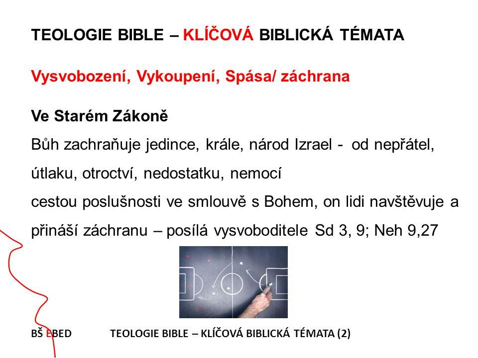 TEOLOGIE BIBLE – KLÍČOVÁ BIBLICKÁ TÉMATA Vysvobození, Vykoupení, Spása/ záchrana Ve Starém Zákoně Bůh zachraňuje jedince, krále, národ Izrael - od nepřátel, útlaku, otroctví, nedostatku, nemocí cestou poslušnosti ve smlouvě s Bohem, on lidi navštěvuje a přináší záchranu – posílá vysvoboditele Sd 3, 9; Neh 9,27 BŠ EBED TEOLOGIE BIBLE – KLÍČOVÁ BIBLICKÁ TÉMATA (2)