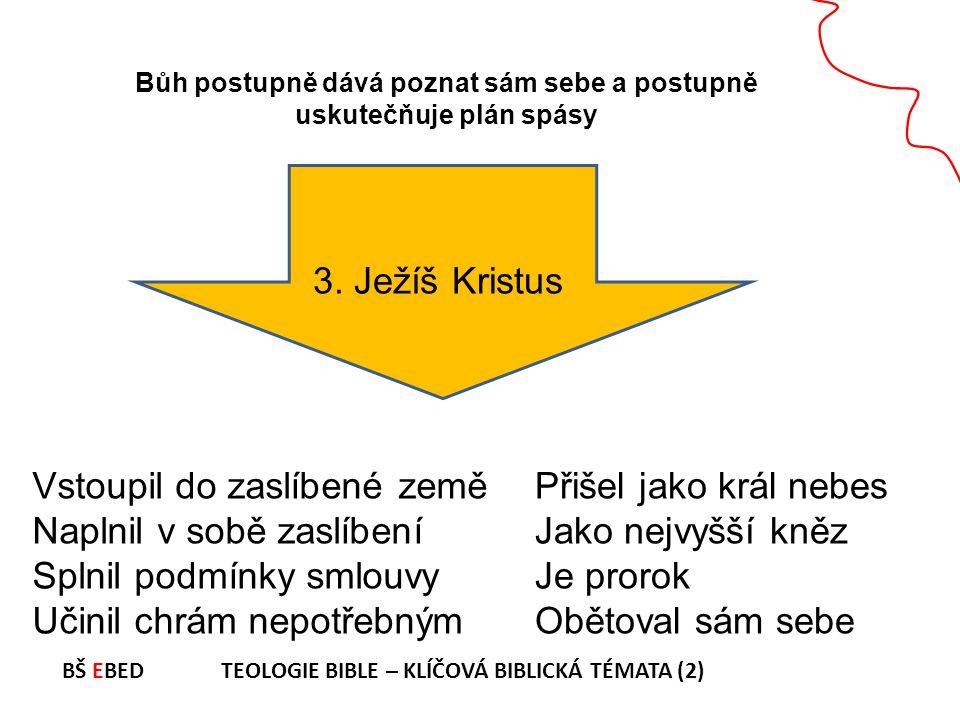 Bůh postupně dává poznat sám sebe a postupně uskutečňuje plán spásy 3. Ježíš Kristus Vstoupil do zaslíbené země Naplnil v sobě zaslíbení Splnil podmín
