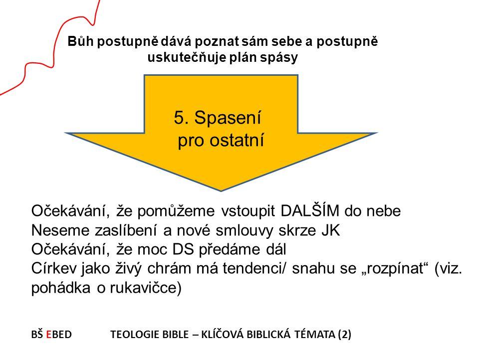 Bůh postupně dává poznat sám sebe a postupně uskutečňuje plán spásy 5. Spasení pro ostatní Očekávání, že pomůžeme vstoupit DALŠÍM do nebe Neseme zaslí