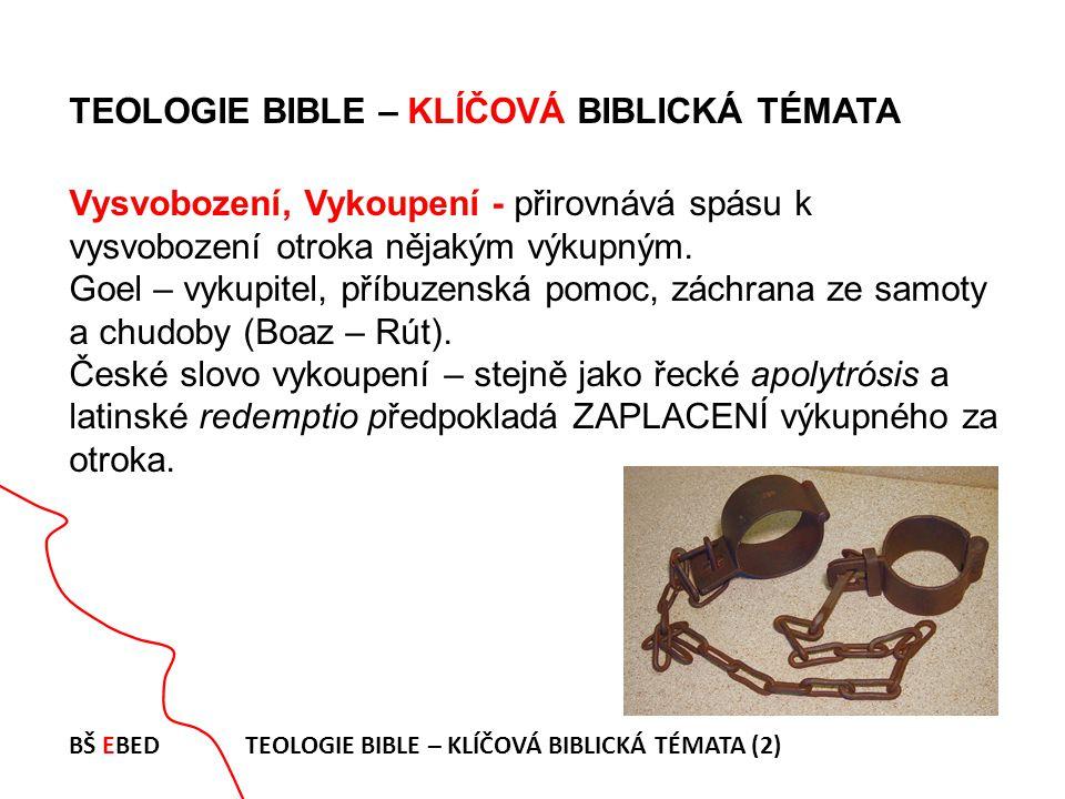 TEOLOGIE BIBLE – KLÍČOVÁ BIBLICKÁ TÉMATA Vysvobození, Vykoupení - přirovnává spásu k vysvobození otroka nějakým výkupným. Goel – vykupitel, příbuzensk