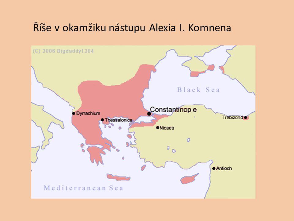 Říše v okamžiku nástupu Alexia I. Komnena