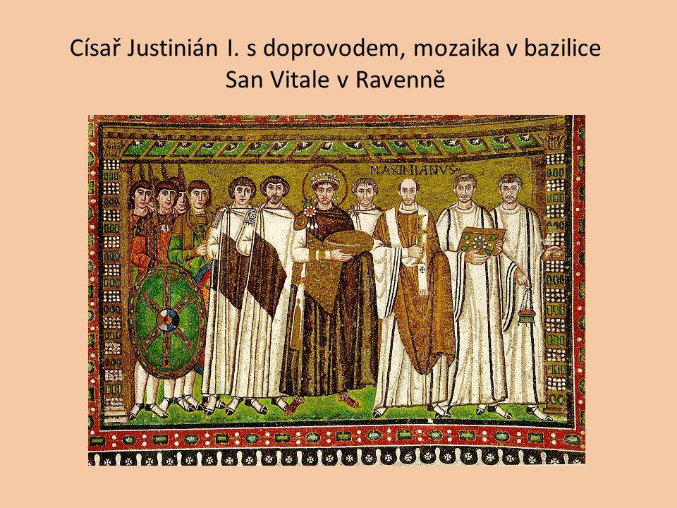 Císař Justinián I. s doprovodem, mozaika v bazilice San Vitale v Ravenně
