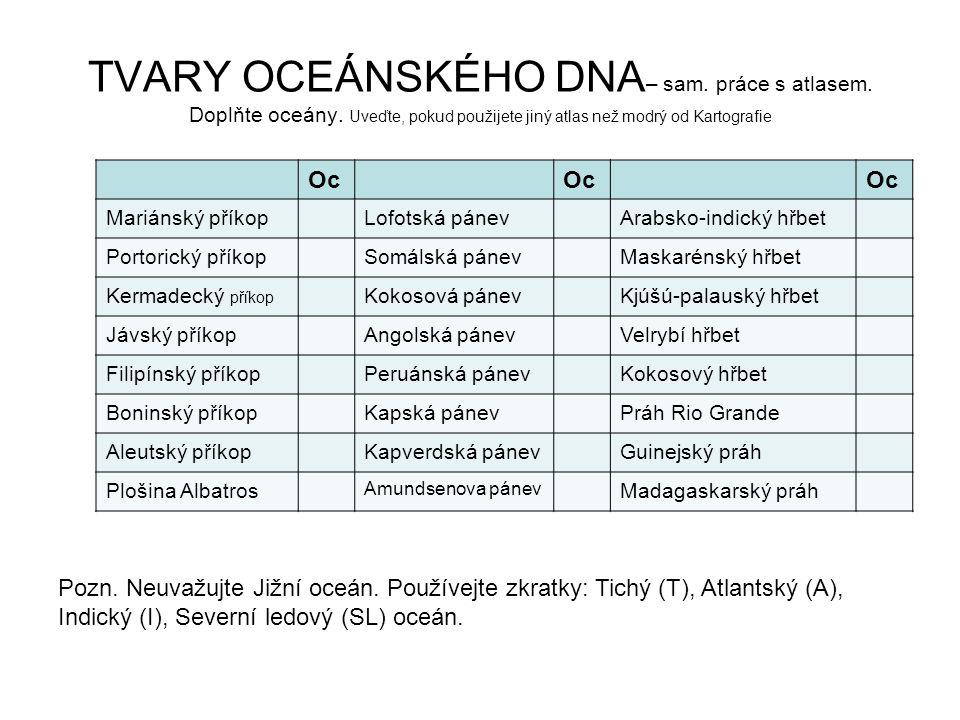 TVARY OCEÁNSKÉHO DNA – sam. práce s atlasem. Doplňte oceány. Uveďte, pokud použijete jiný atlas než modrý od Kartografie Pozn. Neuvažujte Jižní oceán.