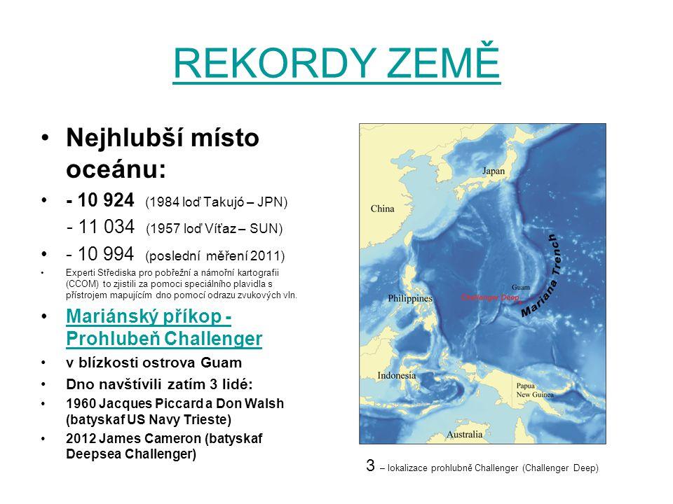 REKORDY ZEMĚ Nejhlubší místo oceánu: - 10 924 (1984 loď Takujó – JPN) - 11 034 (1957 loď Víťaz – SUN) - 10 994 (poslední měření 2011) Experti Středisk
