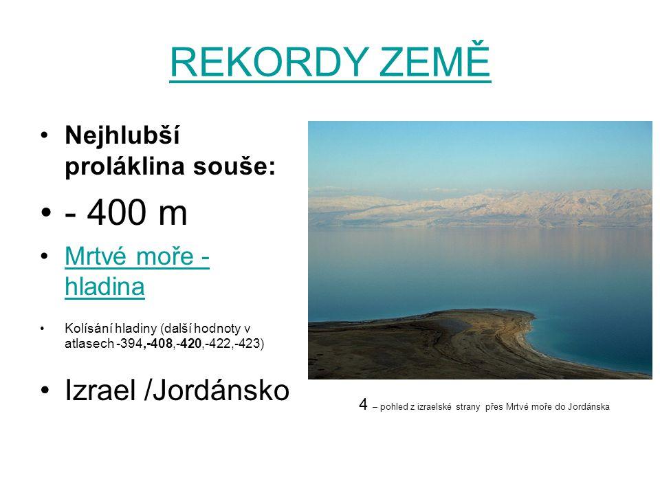 REKORDY ZEMĚ Nejhlubší proláklina souše: - 400 m Mrtvé moře - hladinaMrtvé moře - hladina Kolísání hladiny (další hodnoty v atlasech -394,-408,-420,-4